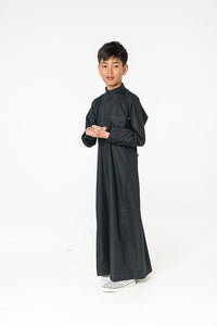 Black Lomar Collar Kids Thobe
