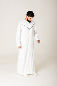 White|Blue Omani Jubba