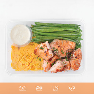 Lemon Cream Salmon with Sweet Potato Mash & French Beans