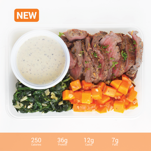 Tenderloin Roast with Pepper Cream Sauce Garlic Spinach and Carrots