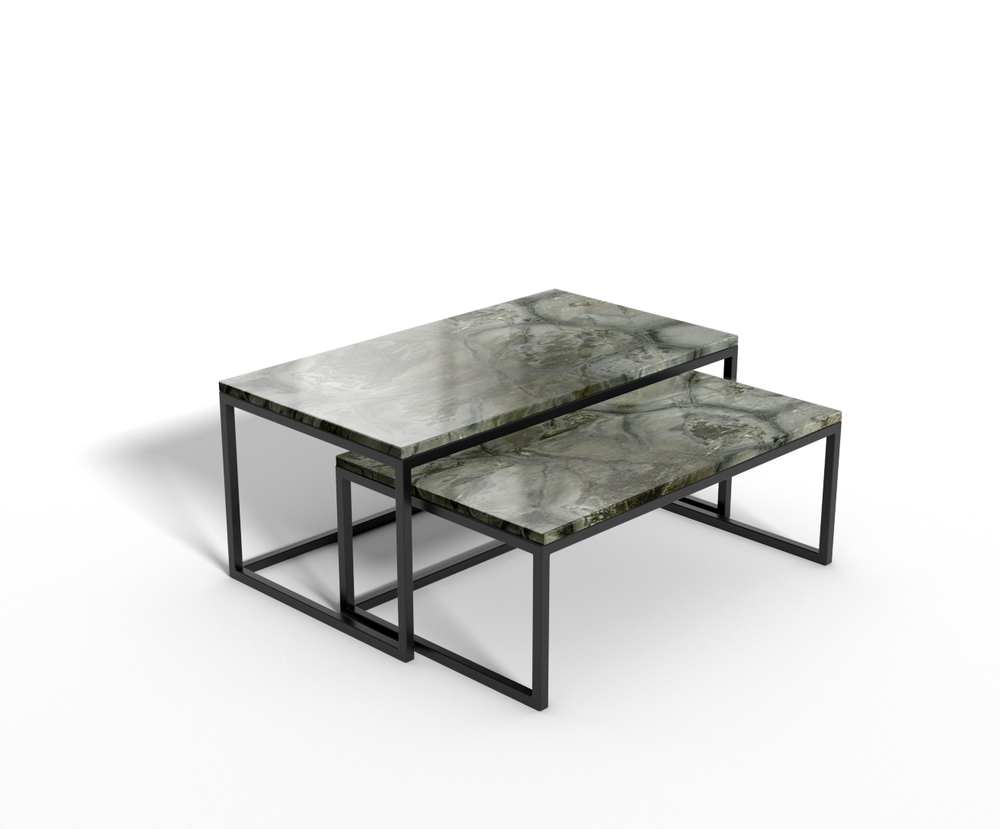 Turtle Illusion marmer - salontafel langwerpig - set