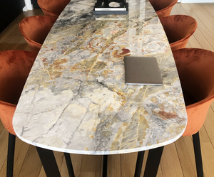 Invisible Grey Gold marmer - eettafel ovaal