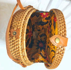 Rattan Brown Bag with Star Pattern