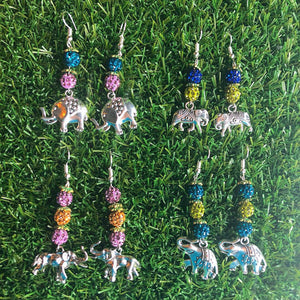 Drop Earrings with Elephant Charm