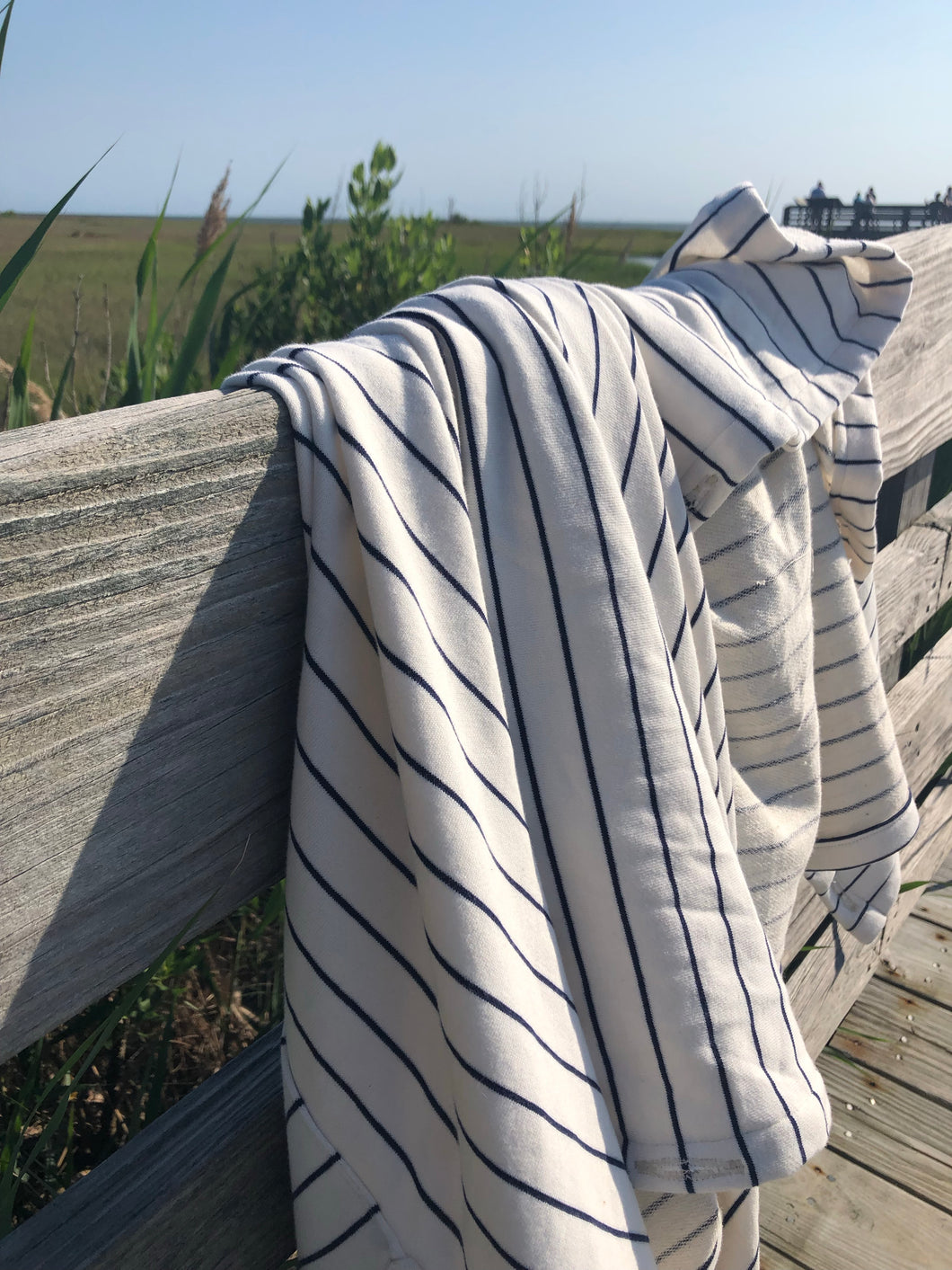 White & Navy Stripe Towel