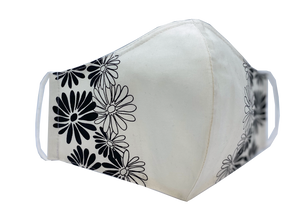 White & Black Daisy Face Mask