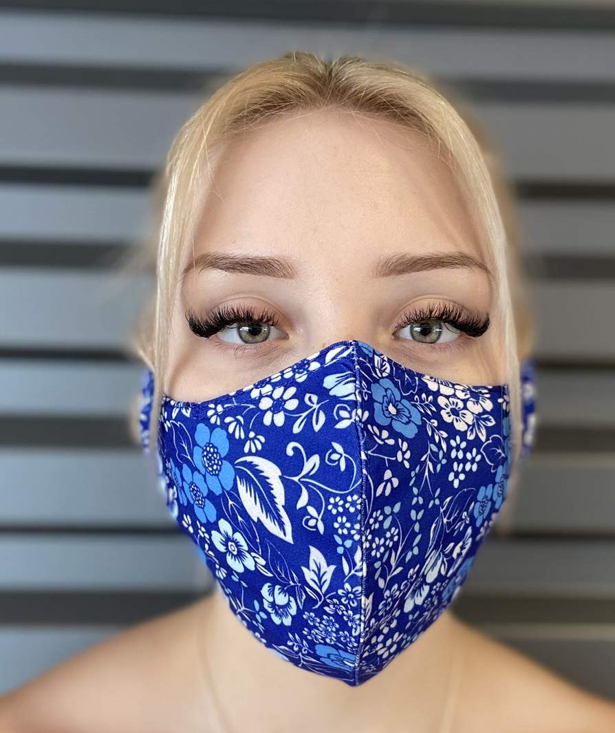 Blue Flower Face Mask