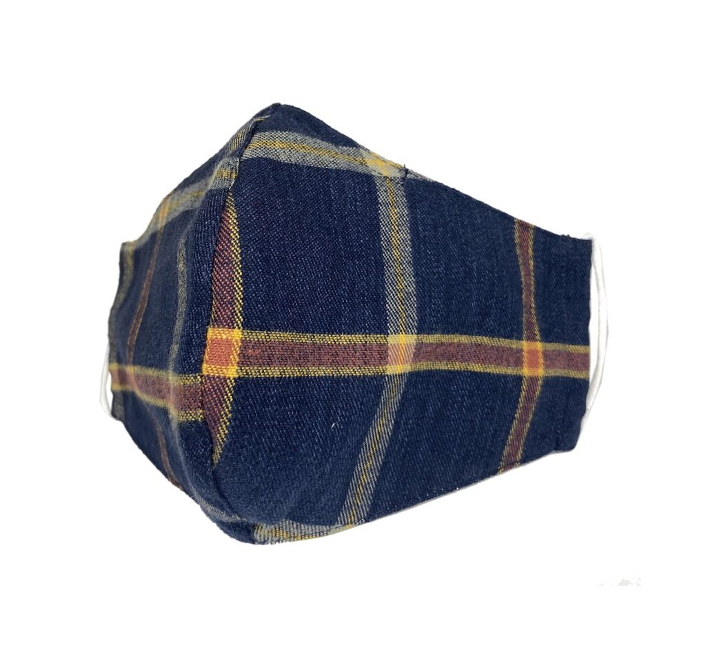 Brown Plaid Denim Face Mask