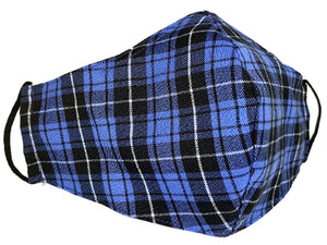 Blue & Black Plaid Face Mask