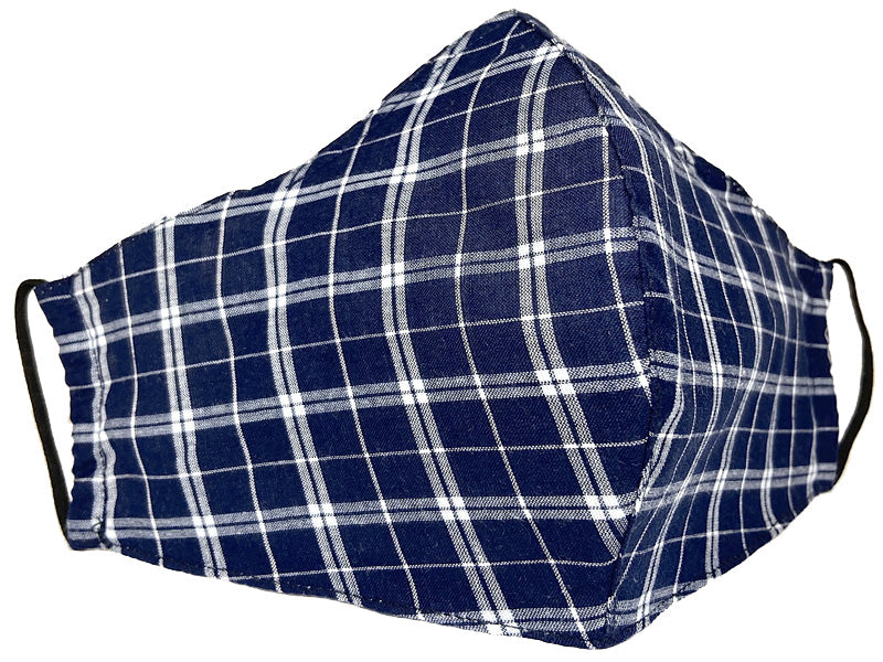 Blue & White Plaid Face Mask