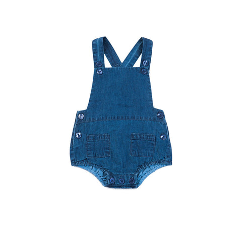 Unisex Baby Denim Romper - Enzyme Soft Washed