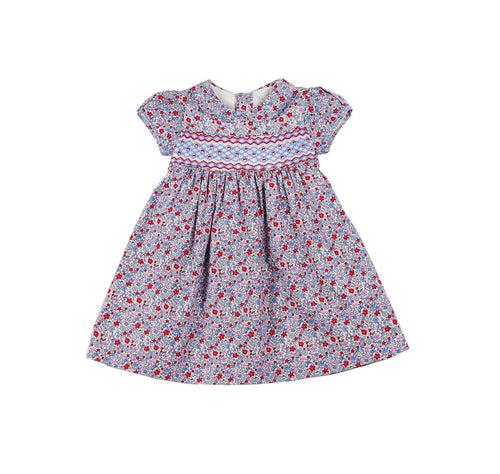 Blue & Red Floral Hand Smocked Dress 6 Months - 3 Years