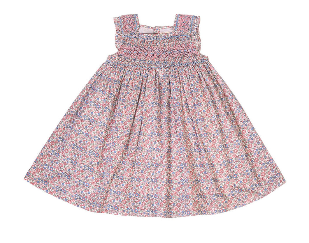 Little Girls' Rose and Blue Floral Hand Smocked Dress