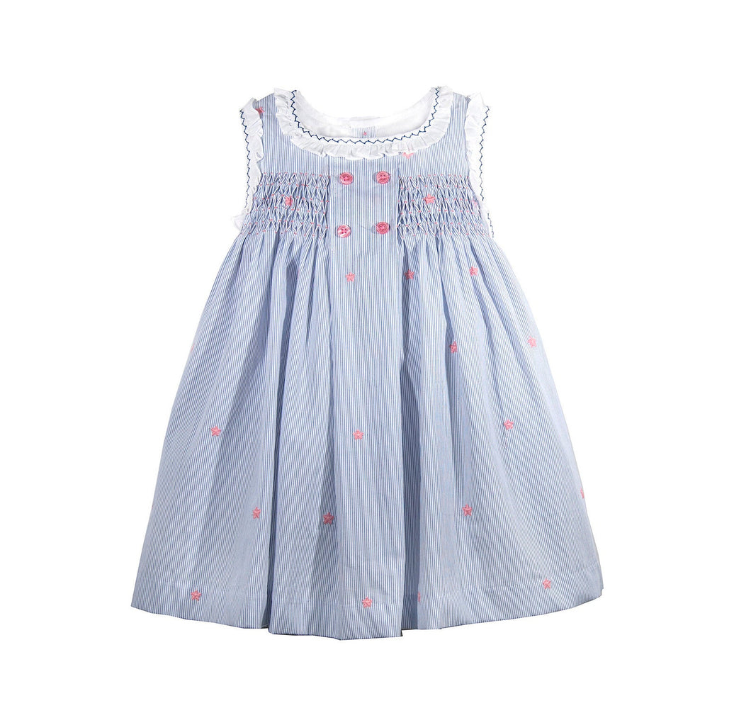 Toddler Baby Girls Soft Blue Stripe Cotton Hand Smocked Dress Frilly Sleeve