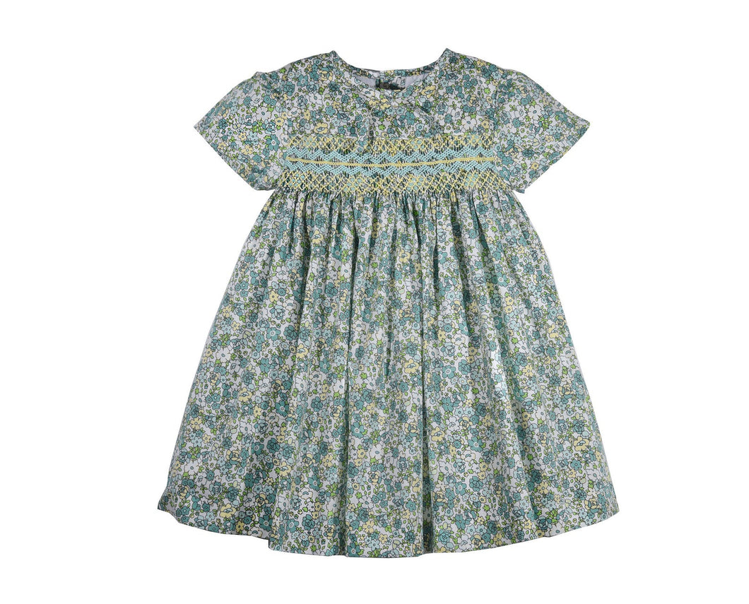 Toddler Baby Girls Soft Floral Cotton Hand Smocked Dress - Green Liberty Summer Dress