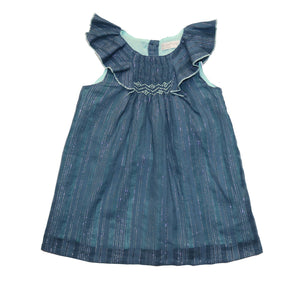 Smocked baby dress, glitter blue angel sleeves