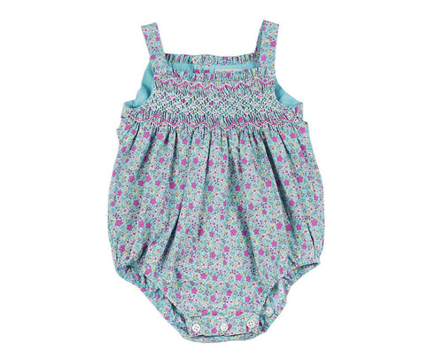 Blue Smocked Floral Bubble