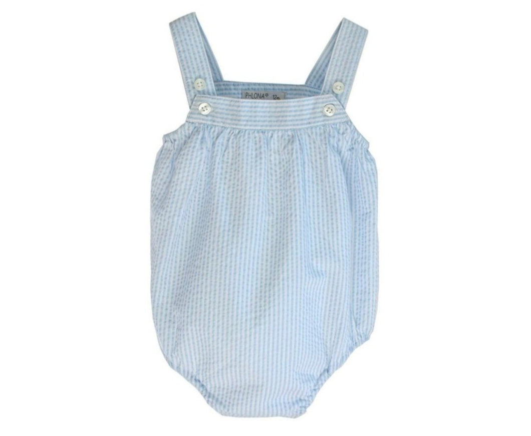 Baby Romper in Cotton Seersucker