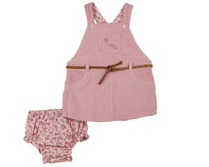 Pink Corduroy Belted Jumper & Pink Floral Diaper Cover - Infant and Toddle