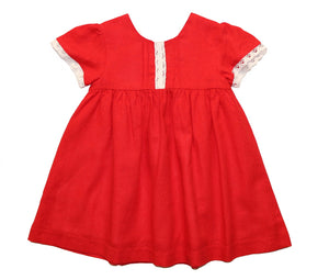 Little Girls' Red Lace Linen Spring Party Dress Easter Girl Dress