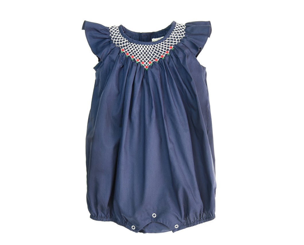Hand Smocked Baby Bubble Bodysuit Ruffle Sleeve Summer Romper