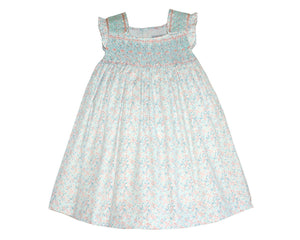 Toddler Girls Hand Smocked Dress in Mint & Pink Floral Casual Summer Sundress Flower Dress
