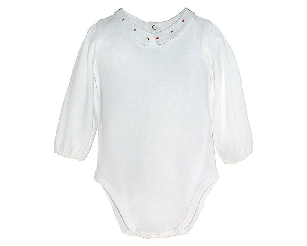 Organic Baby Bodysuit Unisex Baby Hand Embroidered Peter Pan Collar Bodysuit Onesies