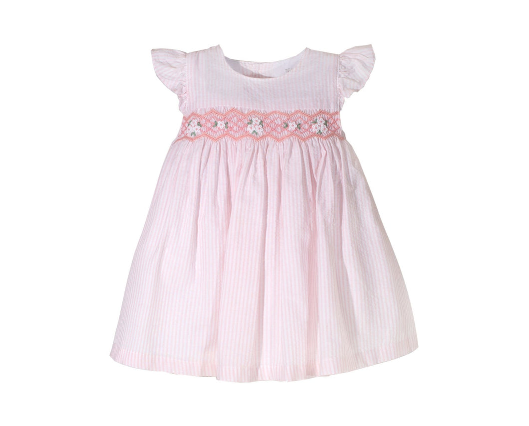 Little Girls' Seersucker Hand Smocked Dress - 100% Cotton