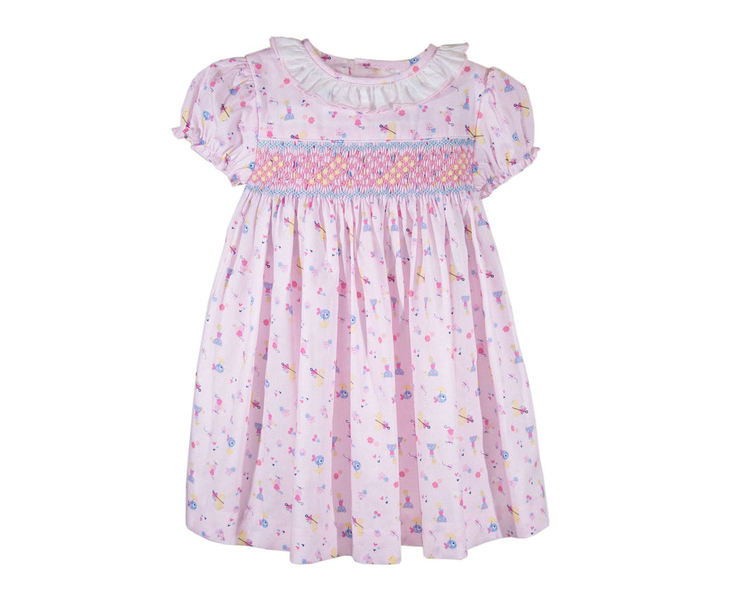 Toddler Baby Girls Soft Floral Cotton Hand Smocked Dress 6 Months - 6 Years