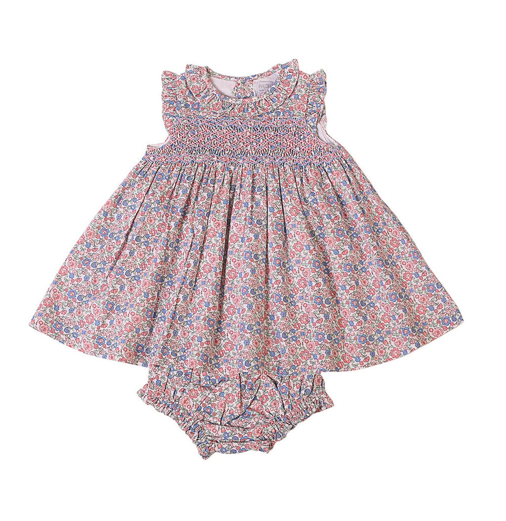 Pink Smocked Dress + Bloomer Set