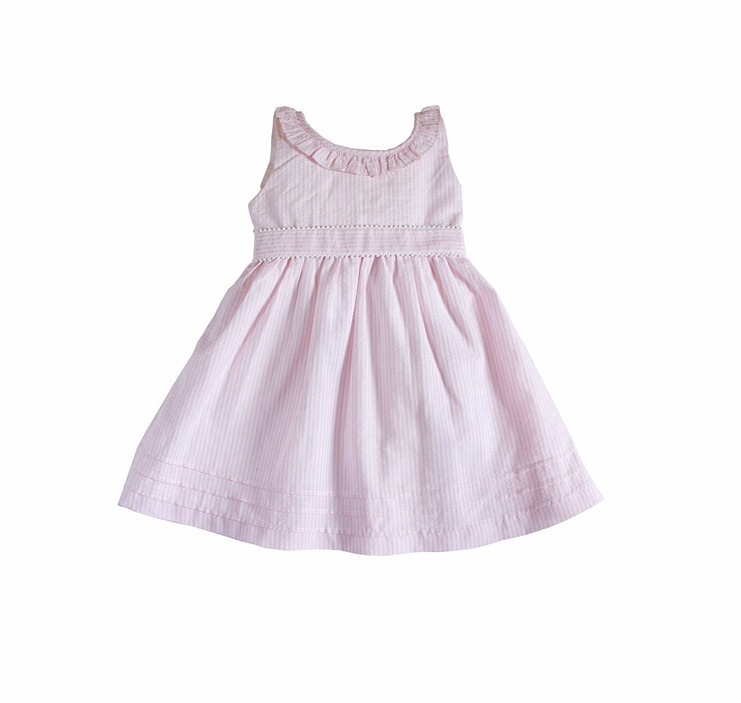 Little Girl's Marino Dress - 100% Cotton Seersucker Summer Beach Dress