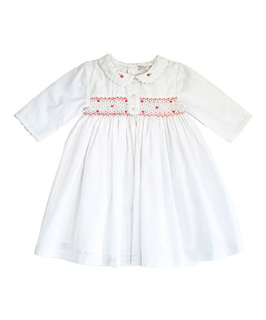 White Smocked Button-Front A-Line Dress Ruffle Long Sleeve Dress - Infant, Toddler & Girls