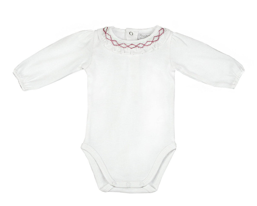 Organic Baby Bodysuit Baby Girls' White Bodysuit Natural Pima Cotton Onesies - Hand Smocked Ruffle Collar