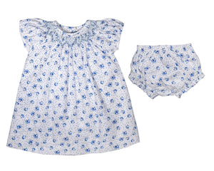 Blue Floral Smocked Dress Set