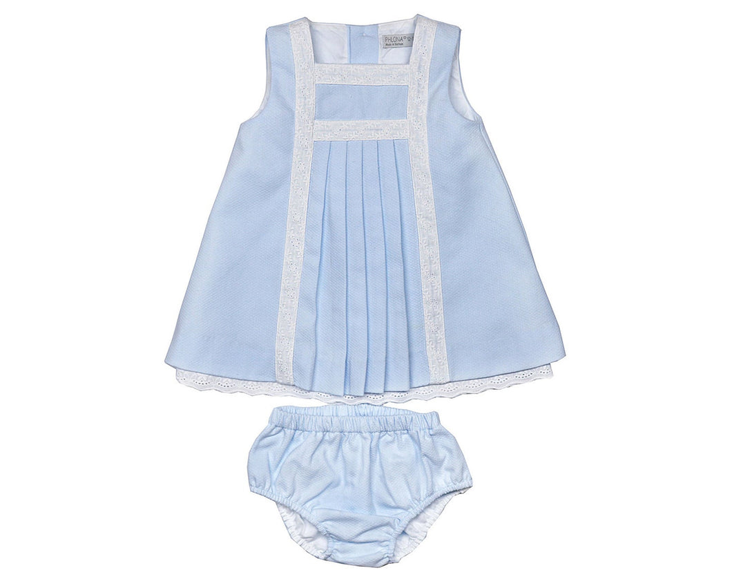 Blue Pique Lace Dress Set