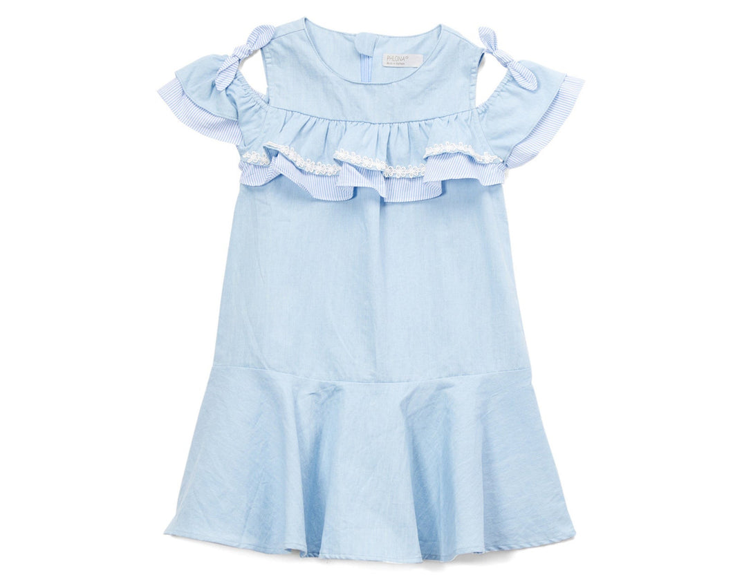 Blue Off-Shoulder Ruffle Dress
