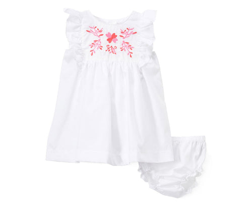 White Angel-Sleeve Dress & Diaper Cover Set, Hand Embroidery Flower Sundress