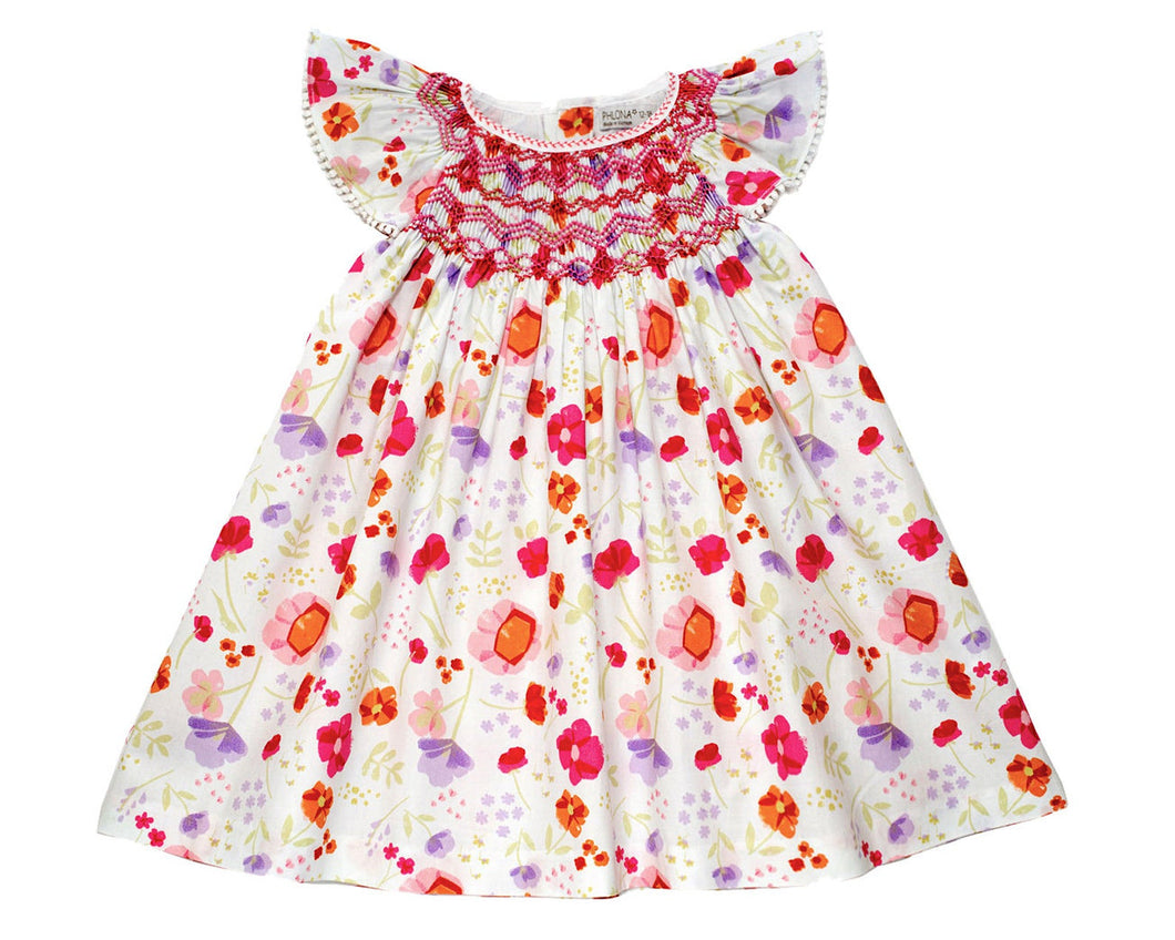 Red Floral Smocked Sundress
