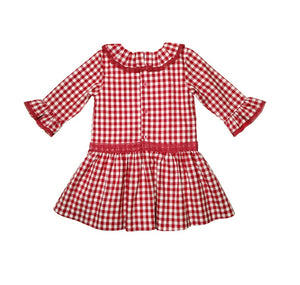 Red & White Gingham Ruffle Dress