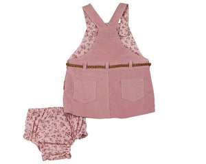 Pink Corduroy Belted Jumper & Pink Floral Diaper Cover - Infant and Toddler
