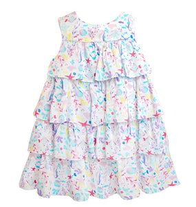 Girls Sleeveless Print Ruffle Swing Spring Dress Cotton Easter Dress