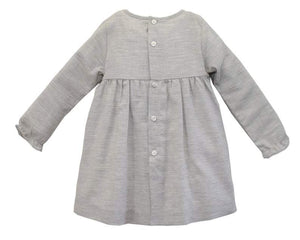 Little Girls' Grey Melange Hand Smocked Dress - Long Sleeves