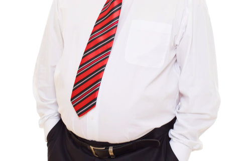 chubby guy wearing white dress shirt with tie