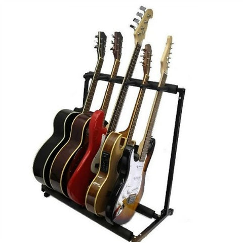 Guitar Stand- Holds 5 Guitars-Multiple Display Rack-Holds Electric, Bass & Acoustic