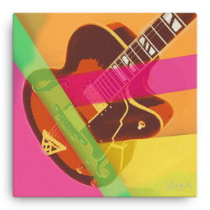 Abstract Hollow Body Electric Guitar Canvas Wall Art