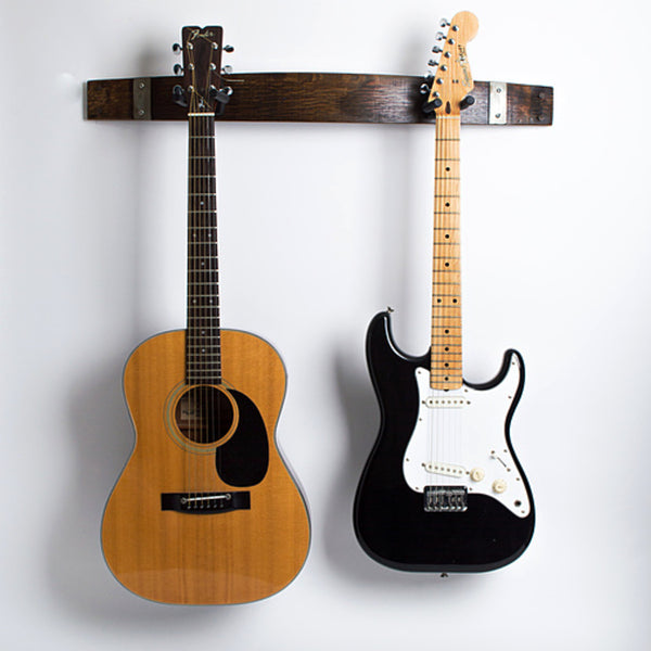 Double Guitar Rack/Holder - Made From Wine Barrel Staves