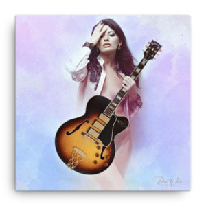 Sexy Guitar Player Canvas Wall Art