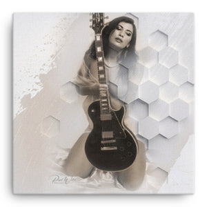 Sexy Guitarist Canvas Wall Art