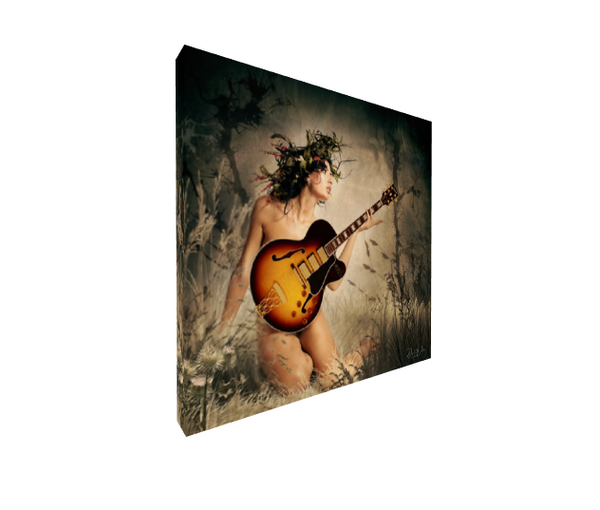 Relaxing With My Guitar Canvas Wall Art