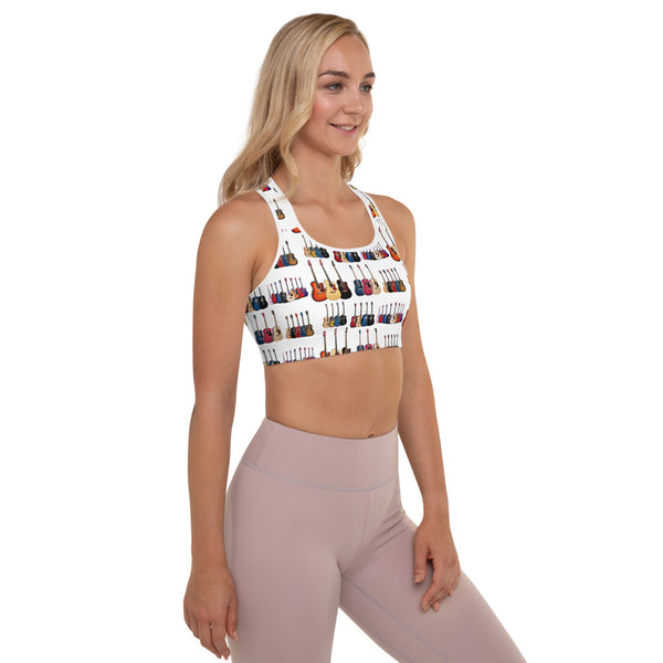 Padded Sports Bra with Acoustic Guitar Design